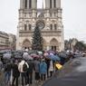 Des personnes se sont rassemblées sur le parvis de Notre Dame de Paris pour observer une minute de silence en hommage aux victimes de l'attentat contre Charlie Hebdo.