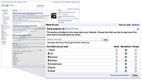 Google News crée un journal personnalisé