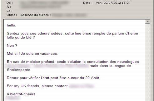 Vos mails d 39 absence r v lent quel employ vous tes - Exemple message absence bureau ...