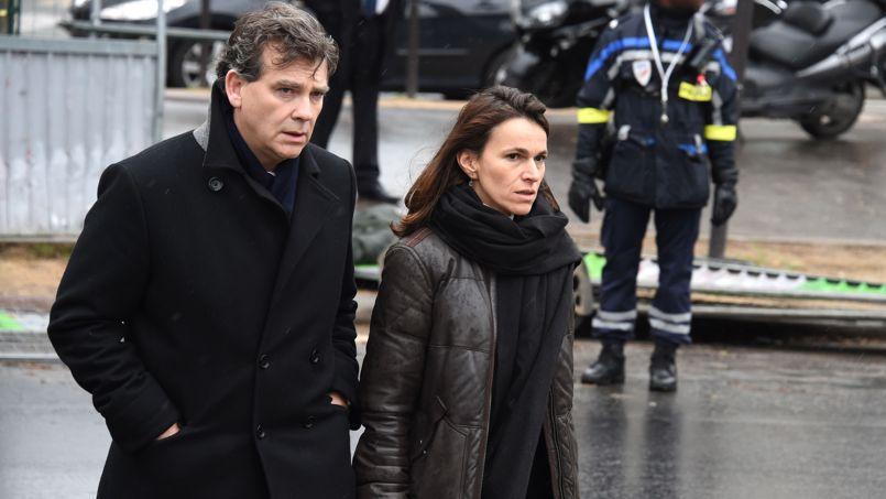 Arnaud Montebourg et Aurelie Filippetti aux obsèques d'Elsa Cayat.