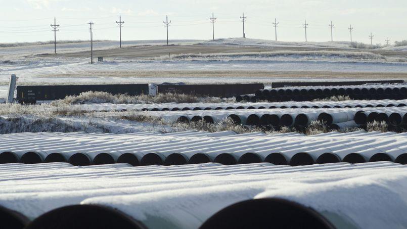 Des tubes stockés à Gascoyne dans le Dakota du Nord, pour la construction de l'oléoduc Keystone.