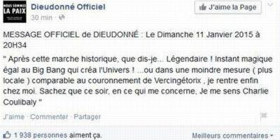 Capture d'écran de la page facebook de Dieudonné le 11/01