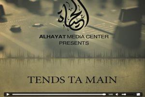 Capture d'écran de la chanson «Tends ta main pour l'allégeance», nasheed (poème musical) invitant les musulmans français à quitter leur pays pour réjoindre les terres de l'Etat islamique.