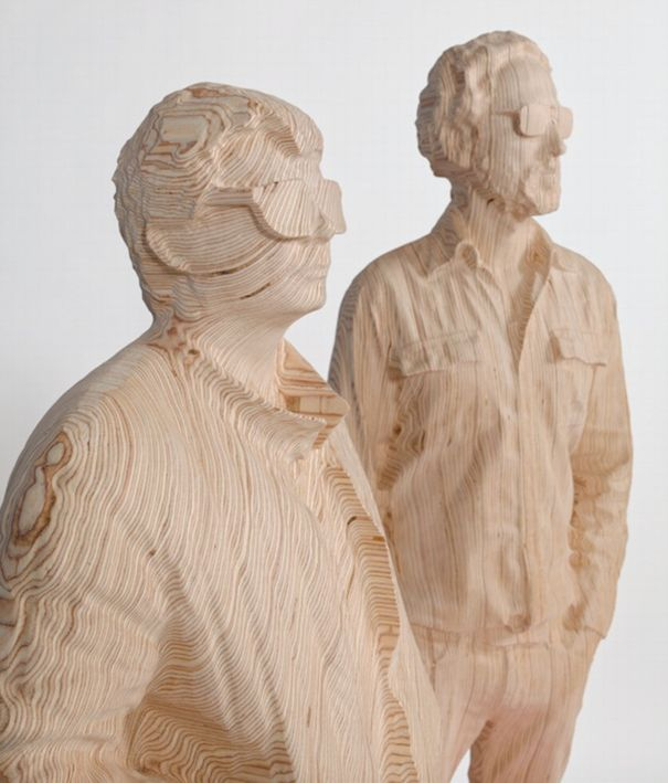 Thomas Bangalter & Guy-Manuel de Homem-Christo (detail), 2015. Contreplaqué de bouleau. 63 1/2 x 39 1/4 x 21 3/4 inches. All images: Photo © Diane Arques; © Veilhan/ ADAGP, Paris/ ARS, New York, 2015, courtesy Galerie Perrotin
