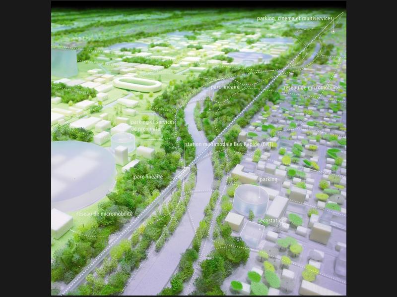 Lin Finn Geipel : un laboratoire de l'après-Kyoto. Le cabinet allemand estime que le Grand Paris doit devenir «le laboratoire avancé des questions clés de la Métropole de l'après-Kyoto». Pour ce faire, son projet comporte un développement urbain combinant de «denses agglomérations avec des espaces de moindre intensité, paysagers et flexibles». Le projet se veut très environnemental, avec des intensités vertes (notre photo) et des fleuves à capacité «autonettoyante» et «autorégénérative».