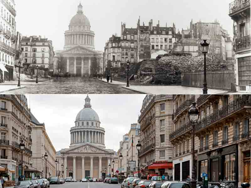 La rue Soufflot en 1877 et aujourd'hui. La perspective n'existait pas au début du XIXe siècle et la rue portant le nom de l'architecte du Panthéon s'achevait en cul-de-sacau niveau de la rue Saint-Jacques. Son allongement vers Saint-Michel commença sous le second Empire.