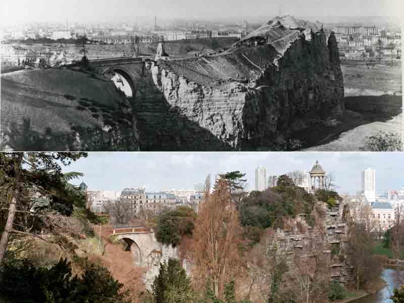 Le parc des Buttes-Chaumont. Jusqu'à la Révolution, cette éminence à l'est de Parisportait l'un des gibets de potence. Plutôt que de la supprimer, comme il le fit avec d'autres dénivellations, Haussmann préféra l'utiliser pour en faire un lieu d'agrément.