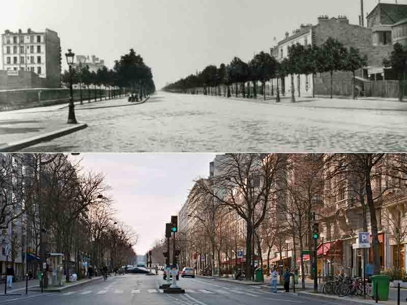Le boulevard Arago photographié par Marville en 1867. Trois ans après son percement, cette artère n'était pas encore très lotie malgré les grands emprunts lancés parl'Etat. Dans des quartiers plus chics, la spéculation battait alors son plein.