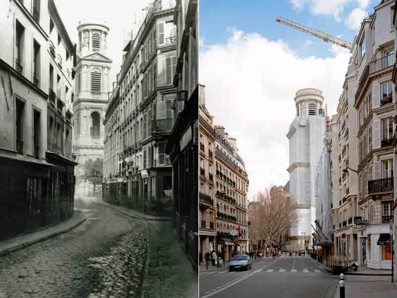 Saint-Sulpice et la rue du Vieux-Colombier. Comme le montre bien l'état actuel, on procédait à l'élargissement d'une artère en abattant les maisons d'un côté. Si le coin de droite n'a pas changé, celui d'en face s'est «haussmannisé».