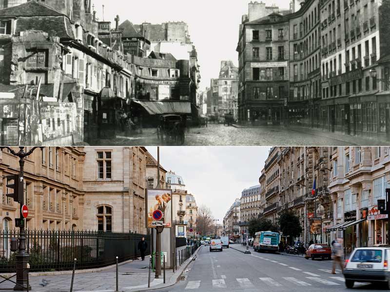 L'élargissement de la rue Réaumur. Parallèle aux Grands Boulevards, cette artère est aujourd'hui l'un des grands axes de circulation parisiens entre l'Opéra et la ruedu Temple. Avant d'être élargie sous le règne du baron, elle traversait l'un des endroits les plus sinistres de la capitale, la fameuse cour des Miracles (à gauche).