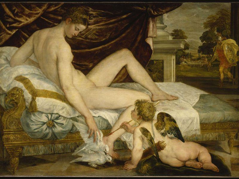 Vénus et l'Amour attendant Mars - Lambert Sustris (Vers 1550 -1555) 134 x 183 cm