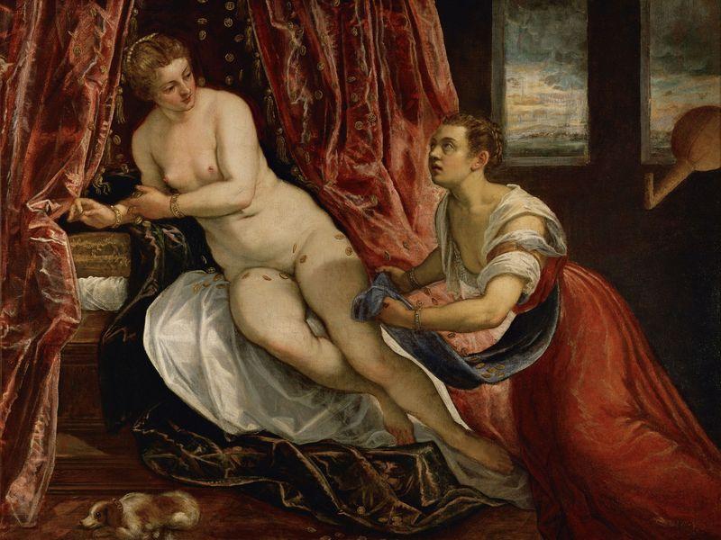 Danaé - Tintoret et atelier (Vers 1580) 142 x 182 cm