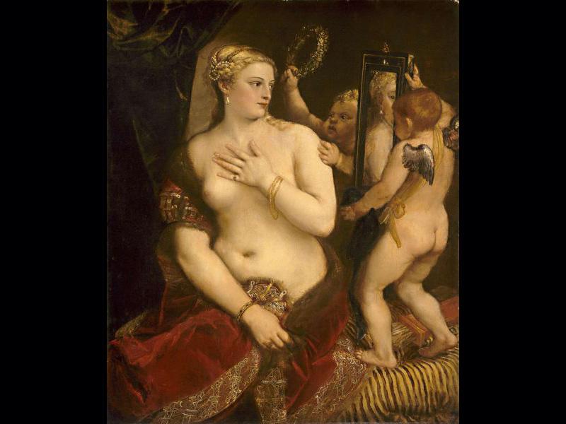 Titien, Tintoret et Véronèse ont tous peint la femme nue, notamment Vénus et Danaé qui apparaissent dans plusieurs de leurs oeuvres.Vénus au miroir- Titien (Vers 1555) 124,5 x 105,4 cm