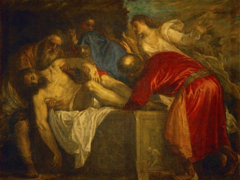 La religion faisait également partie de leurs thèmes favoris, notamment les temps forts de la vie et de la mort de Jésus et différents saints. La Mise au tombeau - Titien -(1559) 137 x 175 cm