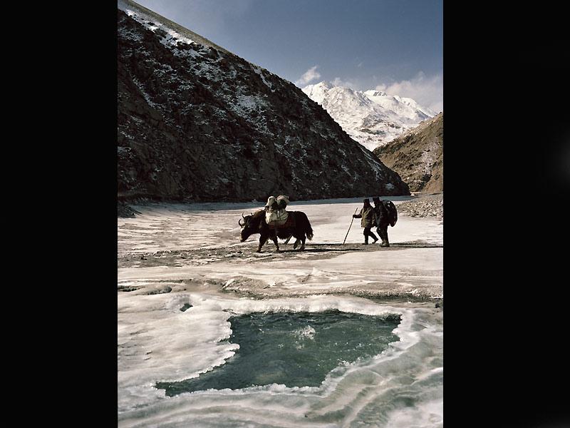 En hiver, lorsque la température atteint –20 °C, la seule voie d'accès aux campements des Kirghiz du Petit Pamir est la rivière Wakhan gelée.