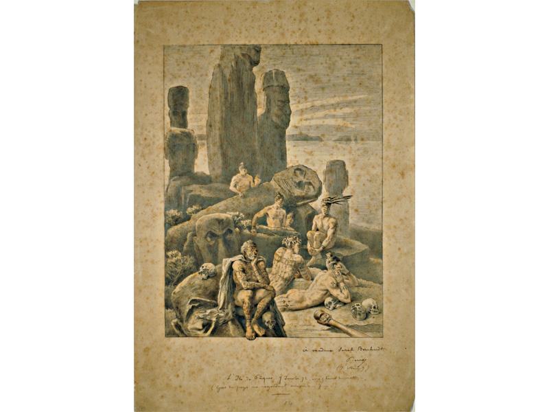 L'Ile de Pâques. 7 Janvier 72, vers 5 heures du matin – / (Gens du pays me regardant arriver…). Crayon, aquarelle et encre. Signé (en bas à droite) et dédicacé quelques années plus tard « à madame Sarah Bernhardt / Pierre / (J. Viaud) ». Loti rassemble ici, au pied d'un ahu et d'un moai renversé, des éléments provenant d'autres dessins : statues géantes, Pascuans tatoués à chevelures nouées sur la tête, crânes éparpillés. Ce dessin, reproduit pour la première fois dans la revue