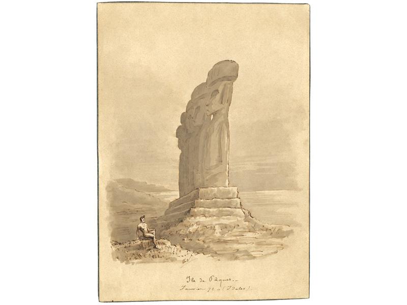 Ile de Pâques. / Janvier 72 – (Idoles). Lavis d'aquarelle et encre de Chine. Dessin d'imagination.