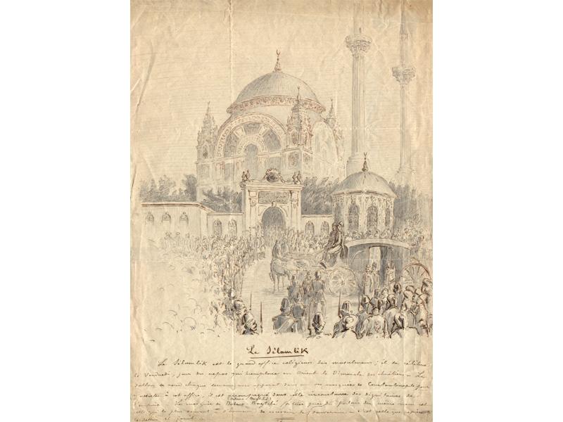 Le Sélamlik Le Sélamlik est le grand office religieux des musulmans ; il se célèbre  le Vendredi, jour du repos qui remplace en Orient le Dimanche des chrétiens. Le  sultan se rend chaque semaine avec apparat dans une des mosquées de Constantinople pour assister à cet office ; il est accompagné dans cette circonstance des dignitaires de l'empire . La mosquée de Dolma-Bagtché [Dolmabahçe], située près du palais du même nom est celle qui le plus souvent a l'honneur de recevoir le souverain . C'est celle que représente  le dessin ci-joint.