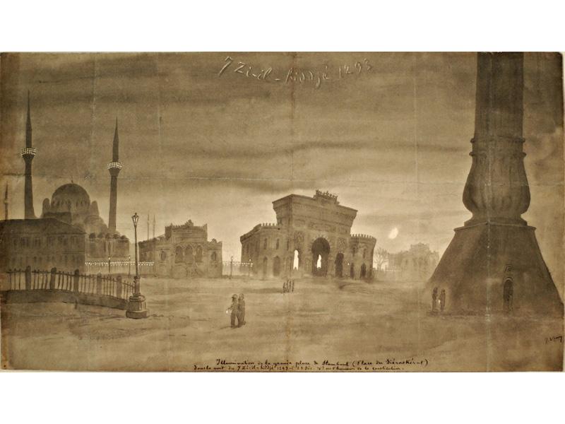 7 Zi-il-hiddjé 1293. L'illumination de la grande place de Stamboul (place du Siéraskérat) dans la nuit du 7 Zi-il-hiddjé 1293  (23 Déc. 76) en l'honneur de la constitution. Lavis avec rehauts de craie blanche.