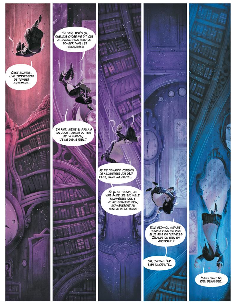 Planche 7 : La chute d'Alice dans le terrier, l'un des moments-phares du roman de Lewis Caroll, est l'entrée du monde magique que va découvrir l'héroïne. Dans l'univers de Xavier Collette,  plus la petite fille s'enfonce dans les entrailles de la terre, plus il devient sombre et effrayant.Le dégradé du chaud au froid accentue la sensation de danger.  Alice a bien compris que plus rien ne sera jamais comme avant,