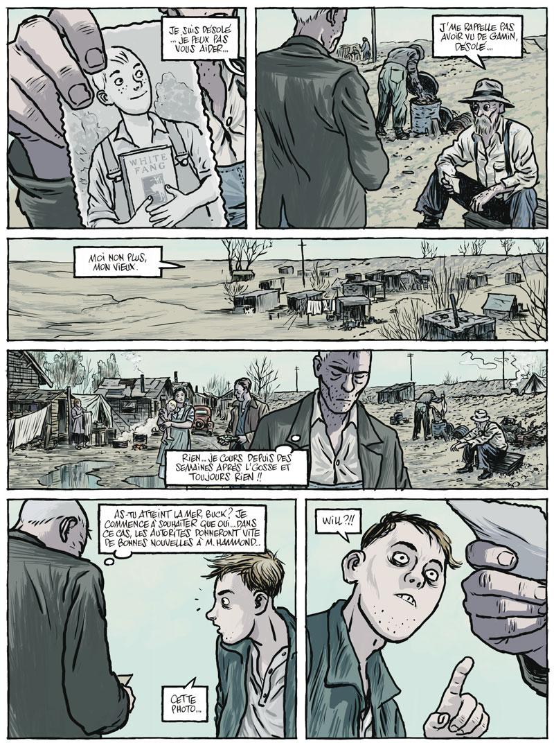 Page 32 : Tom accepte de partir à la recherche du fils d'un homme bloqué sur son lit d'hôpital. Tout n'est que désolation et misère.  Le dessinateur passe avec dextérité d'une expression à une autre : le sourire confiant du jeune garçon, en passant par le désespoir de Tom pour finir sur le regard halluciné d'un miséreux.