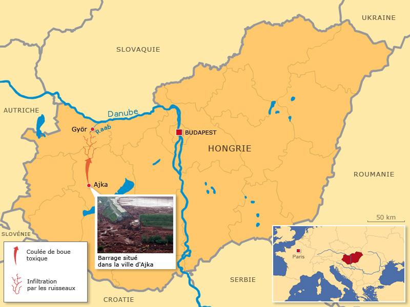 Les eaux de la rivière Raba, polluées par la rupture du réservoir d'une usine d'aluminium lundi (photo), ont atteint jeudi le Danube, a annoncé le Service des eaux hongrois. Les échantillons d'eau prélevés au confluent des deux cours d'eau révèlent