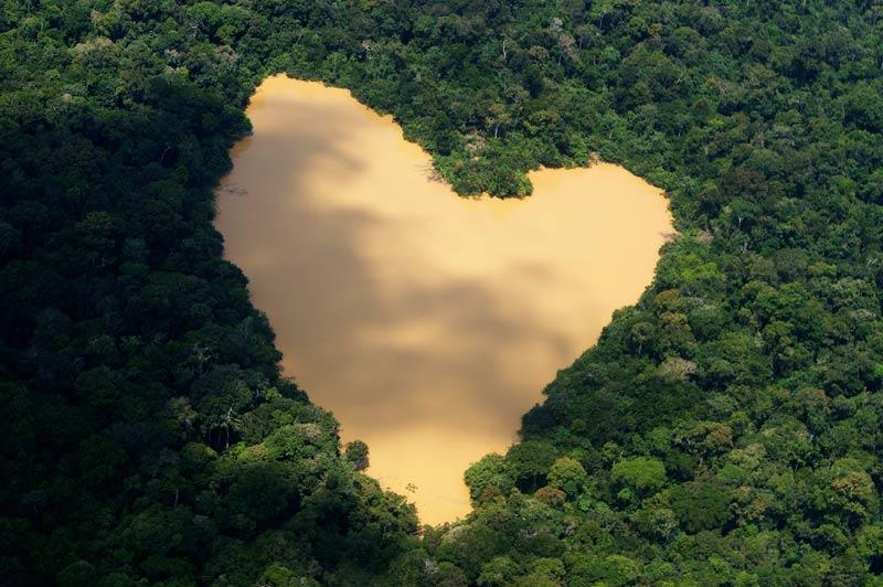 Cette photo immortalise un lac en forme de cœur à Manaus, située au cœur de l'Amazonie.