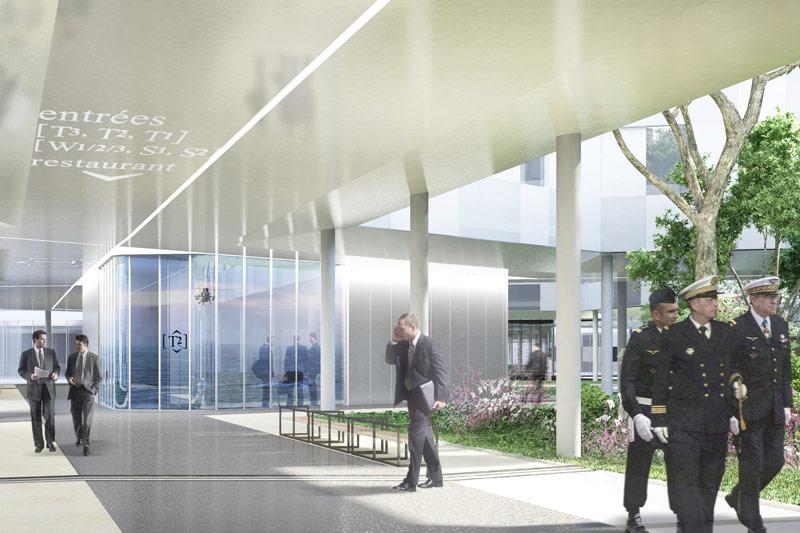 Le hall d'accueil donne accès aux entrées des différents services, grâce à des circulations couvertes, sous pilotis au milieu des jardins. Ces circulations protégées permettent de passer d'un point à un autre de façon aisée et agréable dans une végétation qui recouvre près des deux tiers de la surface du sol.