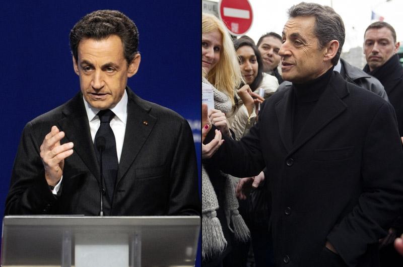 Nicolas Sarkozy, du «bling-bling» au peuple. «Nicolas Sarkozy a toujours beaucoup travaillé son image», commence Caroline Baly. Pour lui, lors de cette campagne présidentielle, l'objectif est bien de faire oublier le «président bling-bling» de 2007. Elle précise: «Pour un homme politique, quand on fait un costume sur mesure, il ne faut pas qu'il fasse trop sur mesure, parce qu'il ne faut pas créer de distance avec le citoyen».«Depuis qu'il est campagne, Nicolas Sarkozy veut se présenter comme le «candidat du peuple». Mais sa communication est assez primaire», analyse-t-elle. Le jour de l'inauguration de son QG de campagne (photo droite), «pour faire proche des gens, il a mis un pull dans la rue, raconte-t-elle. Mais il était à col roulé, qui est un signe de fermeture. Cela ne colle pas avec le message qu'il cherche à faire passer».Surtout, d'après Caroline Baly, le changement est trop brutal pour être crédible. «En matière d'image, l'important est la cohérence, la constance», souligne-t-elle.