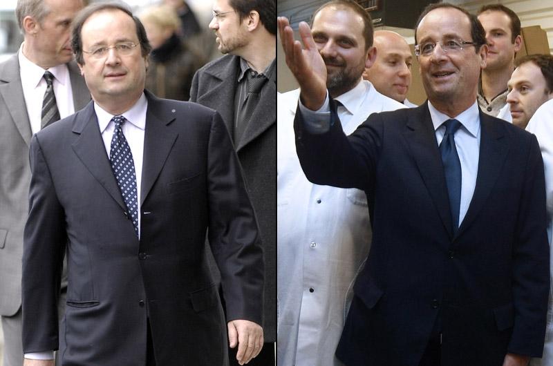 François Hollande, du décontracté au prétendant à l'Elysée. «Pendant longtemps, François Hollande a trainé une image trop «molle». Donc il doit faire un travail inverse à celui de Nicolas Sarkozy: il doit se présidentialiser», décrypte la conseillère en image.Le candidat socialiste a commencé sa métamorphose en perdant du poids, puis a soigné sa garde-robe. «Ses costumes avant n'étaient pas adaptés (photo gauche), lâche-t-elle. Il avait les clés ou son téléphone portable dans les poches…  Là, sur la photo, son pantalon est plein de plis, sa veste est trop longue». Une décontraction qui se retrouve dans ses meetings. François Hollande, à la tribune, ouvre sa veste en grand. Contrairement à Nicolas Sarkozy et François Bayrou qui, comme le veulent les règles de savoir-vivre, discourent avec les boutons du costume fermés.Pour Caroline Baly, «sa communication a été trop rapide». «S'il change si vite, s'il n'est pas constant dans son image, on se demande dans quelle mesure il ne va pas changer à nouveau en ce qui concerne sa politique et si on peut compter sur lui», questionne-t-elle.