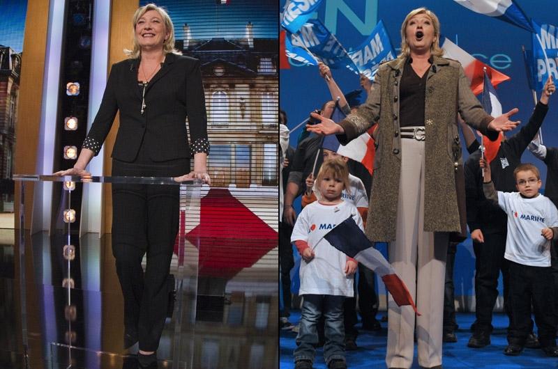 Marine Le Pen, entre constance et fermeture. «Marine Le Pen a une très bonne gestion de son image, analyse Caroline Baly. Elle est très constante : si vous regardez une photo d'il y a six mois, vous verrez qu'elle n'a pas changé. Donc, elle véhicule comme message: «les autres changent, mais pas moi». Souvent en tailleur, elle porte les codes traditionnels de la femme politique.La candidate du Front national affiche, pourtant, des tenues différentes dans les émissions de télévision ou devant ses militants. Sur le plateau de «Parole de candidat» (photo gauche), elle apparaît tout en noir. «Le noir, couleur de la non-communication, lié au deuil. Vous faites passer le message: «laissez-moi tranquille aujourd'hui, je veux être en paix». Le noir traduit donc un instinct de protection, précise la conseillère en image. Elle n'était pas très à l'aise dans l'émission, elle s'est protégée comme elle le pouvait. Son inconscient a parlé». A contrario, lors des meetings du FN (photo droite), sa tenue est plus décontractée. «Sur la photo, elle est plus à l'aise, commente Caroline Baly. Son manteau est ouvert. Le chocolat et le beige  sont des couleurs qui marquent l'ancrage: elle est dans sa famille».