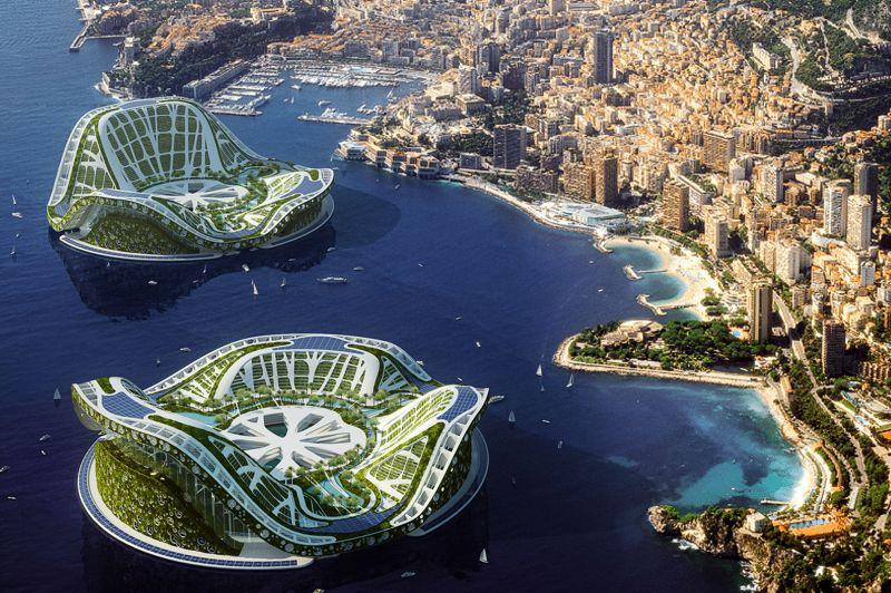 Voici ce à quoi pourrait ressembler la baie de la Principauté de Monaco, à l'horizon 2058. Aux côtés des yachts pourrait cohabiter «Lilypad», prototype d'une «ville amphibie auto-suffisante». Cette dernière pourrait abriter jusqu'à 50 000 habitants. Ces structures permettraient de recueillir les réfugiés des îles submergées par la montée des océans.