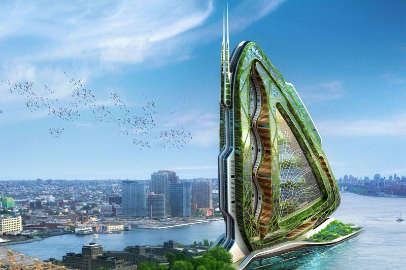 La «Libellule» (Drogonfly) pourrait bien étendre ses ailes à New York dans les quinze prochaines années. Il s'agit d'une «ferme métabolique pour l'agriculture urbaine», tout en verticalité, sur 700 mètres de hauteur. Ce projet sera, de la même manière, complètement autosuffisant en matière énergétique.