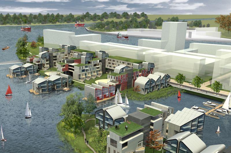 Le concept du projet-pilote «Floodproof» à Dordrecht, au Pays-Bas, vise à construire des habitations qui s'adaptent aux zones inondables. Il s'agit de maisons amphibies capables de flotter en fonction du niveau d'eau, construites selon un schéma déterminé par les zones inondables (voir le concept en vidéo).