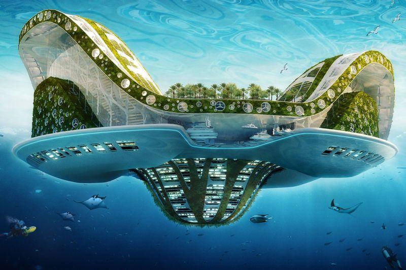 Cette plate-forme capable de se mouvoir affiche un bilan énergétique positif à émission de carbone zéro, rendu possible notamment par l'intégration de toutes les énergies renouvelables (solaire thermique et voltaïque, éolienne, hydraulique, maréthermique, marémotrice, osmotique, phyto-épuration et biomasse). Des champs d'aquacultures sont disposés sous sa coque, à la surface se trouvent des logements végétalisés en jardins supendus.