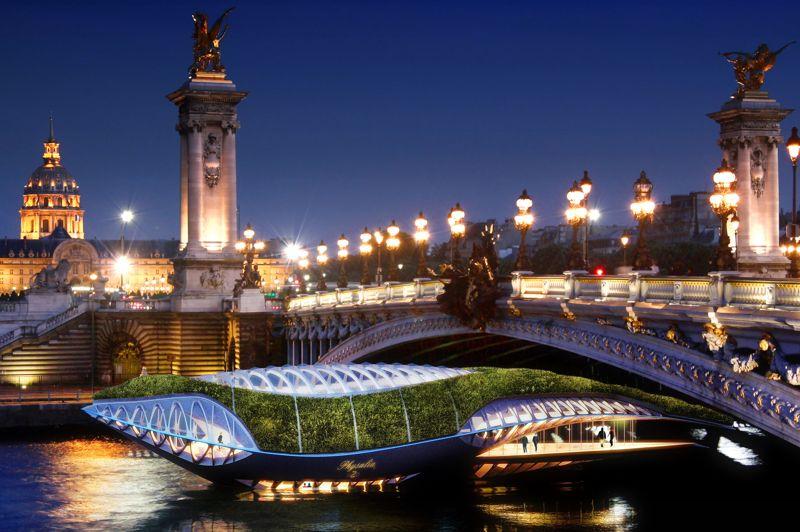 Prévu pour passer sous les ponts, «Physalia» viendrait entre autres accompagner les «Bateaux-mouches» de la Seine...