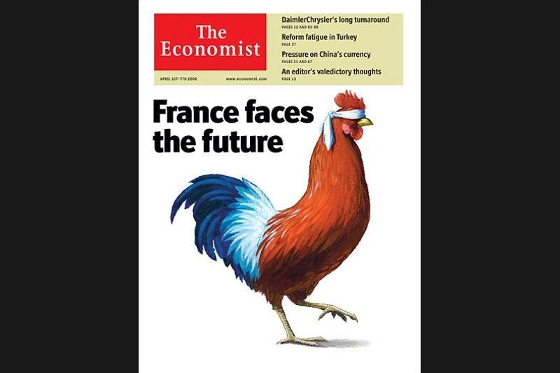 En avril 2006, la «France fait face à l'avenir» de façon bien peu rassurante. La présidence de Jacques Chirac était un motif de diatribes récurrentes pour l'hebdomadaire économique.