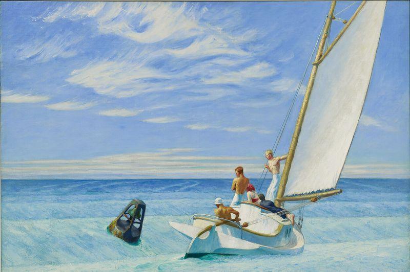 Un certain regard sur l'Amérique. Une échappée belle avec Ground Swell, un tableau peu connu du peintre américain Edward Hopper qui figure dans la première grande rétrospective qui lui est consacrée au Grand Palais. L'exposition magistrale connait des records d'affluence.