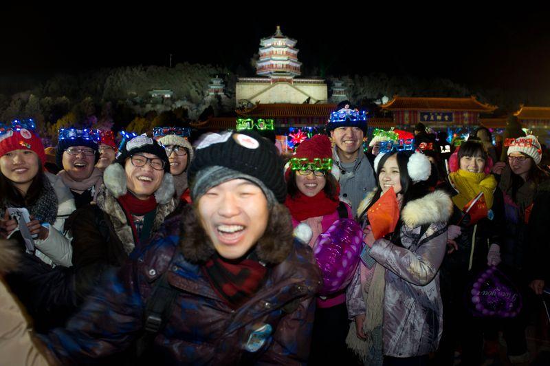 À Pékin, des milliers de Chinois ont fêté le passage en 2013 dans le parc du Palais d'Été.