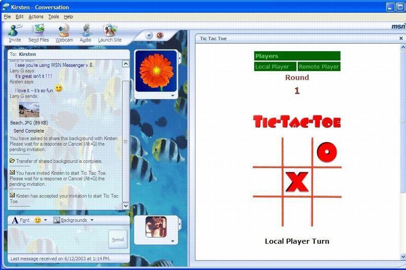 MSN fait sa révolution le 17 juillet 2003 avec une version revue et extrêmement enrichie du logiciel. Toutes les fonctionnalités les plus célèbres du service y font leur apparition: les avatars, les émoticones, les fonds d'écran, les jeux - comme ici le morpion - , et le fameux chat vidéo, de webcam à webcam.