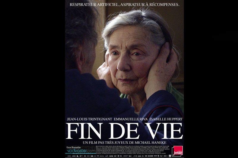Déjà parodié par Collegehumor après sa nomination aux Oscars,  Amour  est aussi victime de l'humour à la française. Pour les Américains, il se transformait en «French, a film by a French person». Là, il devient Fin de vie et réjouit les détracteurs d'Haneke.