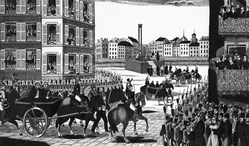 L'exécution de Giuseppe Fieschi, Theodore Pepin et Pierre Morey, auteurs de l'attentat du 28 juillet 1835 contre Louis-Philippe, à Paris, le 17 fevrier 1836. (Gravure.)