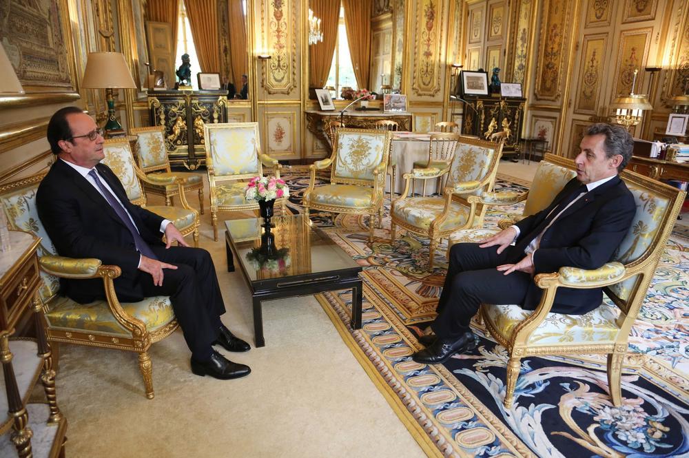 François Hollande et Nicolas Sarkozy à l'Élysée, le 25 juin 2016.