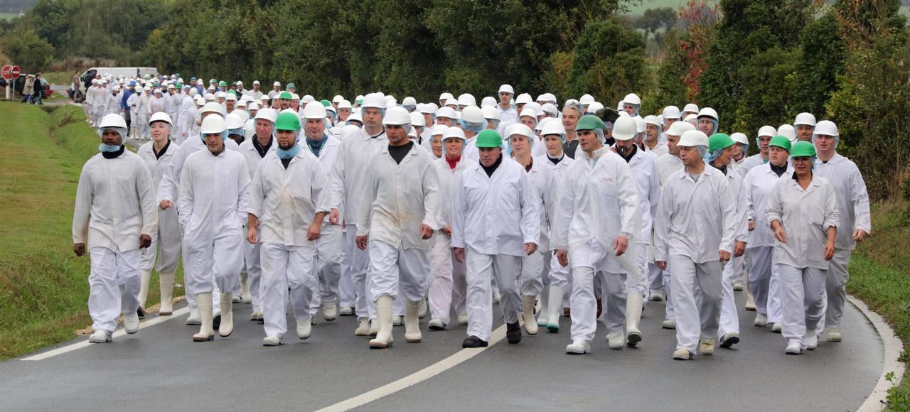 En octobre 2013, une quarantaine de salariés de l'abattoir Gad de Josselin (Finistère) manifestaient contre la fermeture du site. Un an plus tard, le groupe Intermarché rachetait l'usine.