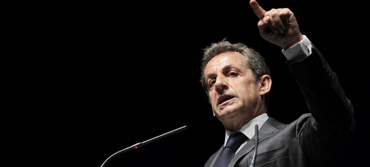 Nicolas Sarkozy, during a support rally & # xE0, Christian Estrosi, April 22 & # xE0; Nice.