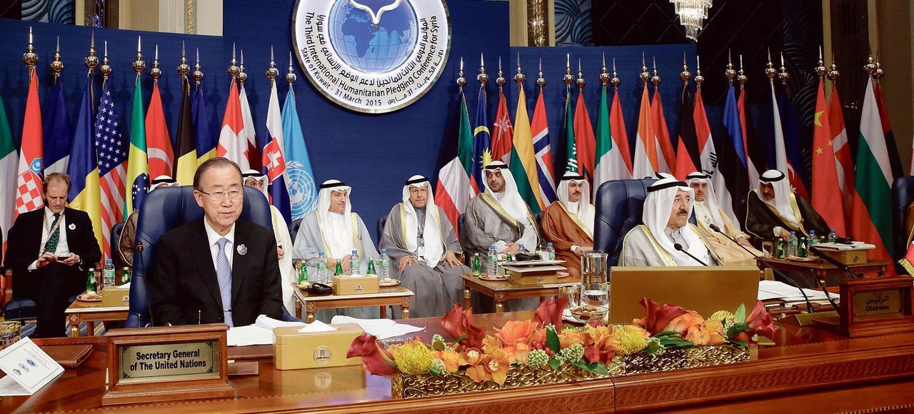 Le stand de la principale ONG salafiste côtoyait ceux des très respectées agences humanitaires de l'ONU lors de la conférence des donateurs pour la Syrie, le 31 mars au Koweït