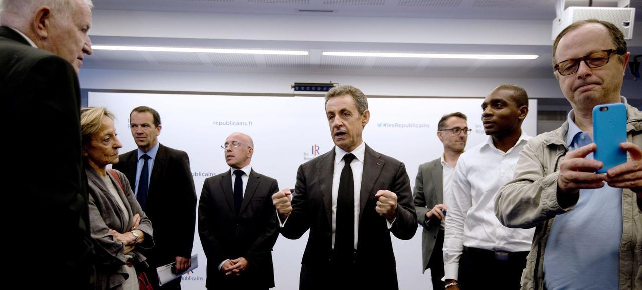 Nicolas Sarkozy lors d'une rencontre avec les nouveaux adhérents des Républicains, samedi à Paris