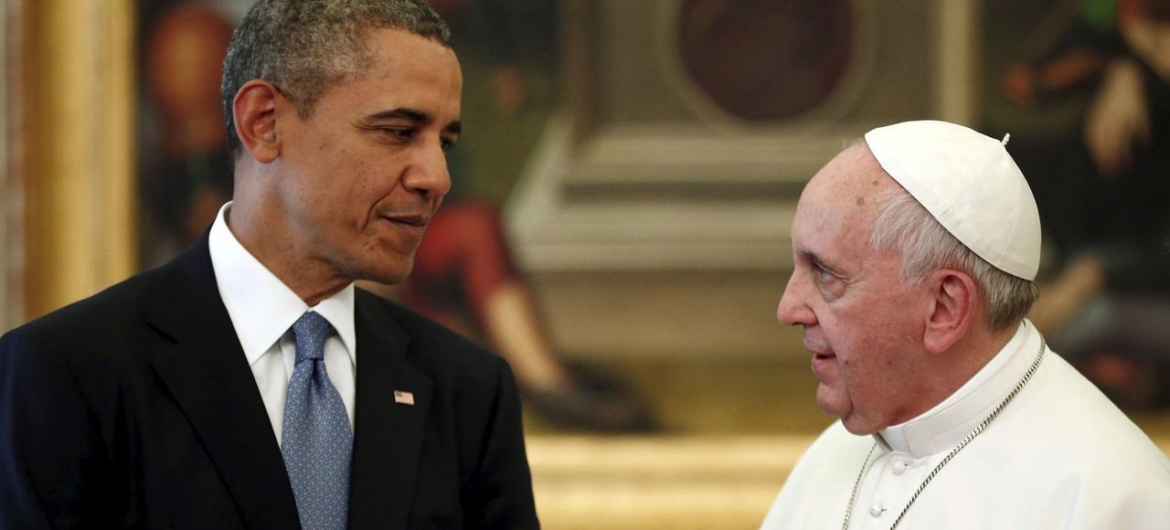Le président américain et le Pape en mars 2014 au Vatican.