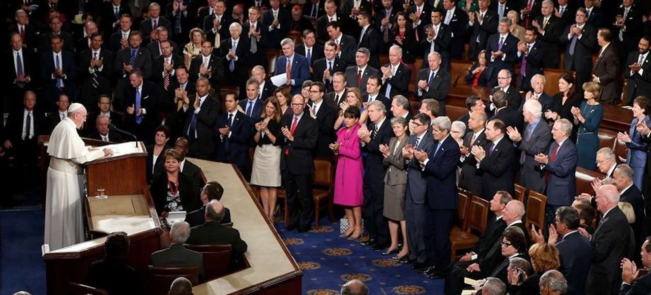 Le pape François jeudi devant le Congrès, à Washington.