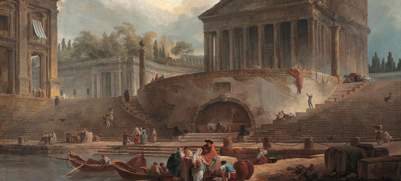Le Panthéon devant le port de la Ripetta, Hubert Robert, 1761.